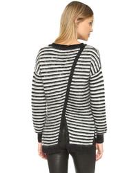 weißer und schwarzer horizontal gestreifter Oversize Pullover von Rebecca Minkoff