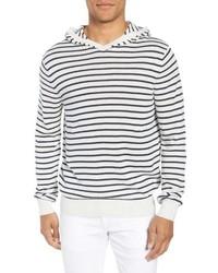 weißer und schwarzer horizontal gestreifter Pullover mit einem Kapuze