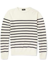 weißer und schwarzer horizontal gestreifter Pullover mit einem Rundhalsausschnitt von A.P.C.