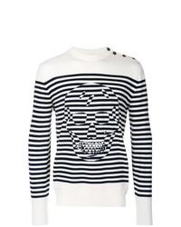 weißer und schwarzer horizontal gestreifter Pullover mit einem Rundhalsausschnitt von Alexander McQueen