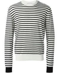 weißer und schwarzer horizontal gestreifter Pullover mit einem Rundhalsausschnitt von Ami
