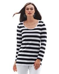 weißer und schwarzer horizontal gestreifter Pullover mit einem Rundhalsausschnitt von Anna Aura
