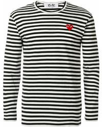 weißer und schwarzer horizontal gestreifter Pullover mit einem Rundhalsausschnitt von Comme des Garcons