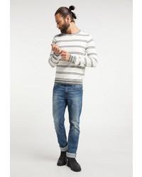 weißer und schwarzer horizontal gestreifter Pullover mit einem Rundhalsausschnitt von Dreimaster