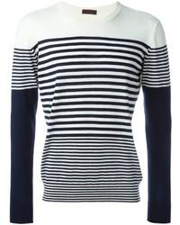 weißer und schwarzer horizontal gestreifter Pullover mit einem Rundhalsausschnitt von Etro