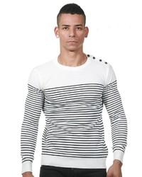 weißer und schwarzer horizontal gestreifter Pullover mit einem Rundhalsausschnitt von EX-PENT