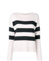 weißer und schwarzer horizontal gestreifter Pullover mit einem Rundhalsausschnitt von Hemisphere