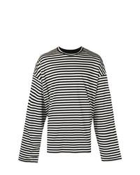 weißer und schwarzer horizontal gestreifter Pullover mit einem Rundhalsausschnitt von Juun.J