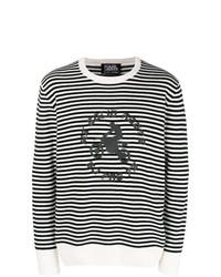 weißer und schwarzer horizontal gestreifter Pullover mit einem Rundhalsausschnitt von Karl Lagerfeld