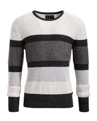 weißer und schwarzer horizontal gestreifter Pullover mit einem Rundhalsausschnitt von khujo