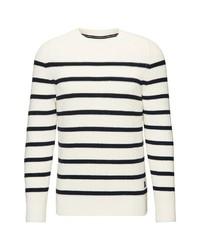 weißer und schwarzer horizontal gestreifter Pullover mit einem Rundhalsausschnitt von Marc O'Polo