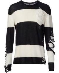 weißer und schwarzer horizontal gestreifter Pullover mit einem Rundhalsausschnitt von Miharayasuhiro