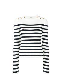 weißer und schwarzer horizontal gestreifter Pullover mit einem Rundhalsausschnitt von Miu Miu