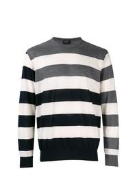 weißer und schwarzer horizontal gestreifter Pullover mit einem Rundhalsausschnitt von Paul & Shark