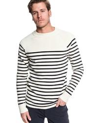 weißer und schwarzer horizontal gestreifter Pullover mit einem Rundhalsausschnitt von Quiksilver