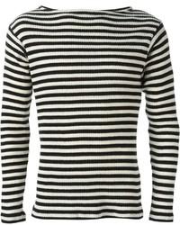 weißer und schwarzer horizontal gestreifter Pullover mit einem Rundhalsausschnitt von Saint Laurent