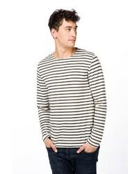 weißer und schwarzer horizontal gestreifter Pullover mit einem Rundhalsausschnitt von super natural