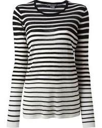 weißer und schwarzer horizontal gestreifter Pullover mit einem Rundhalsausschnitt von Vince