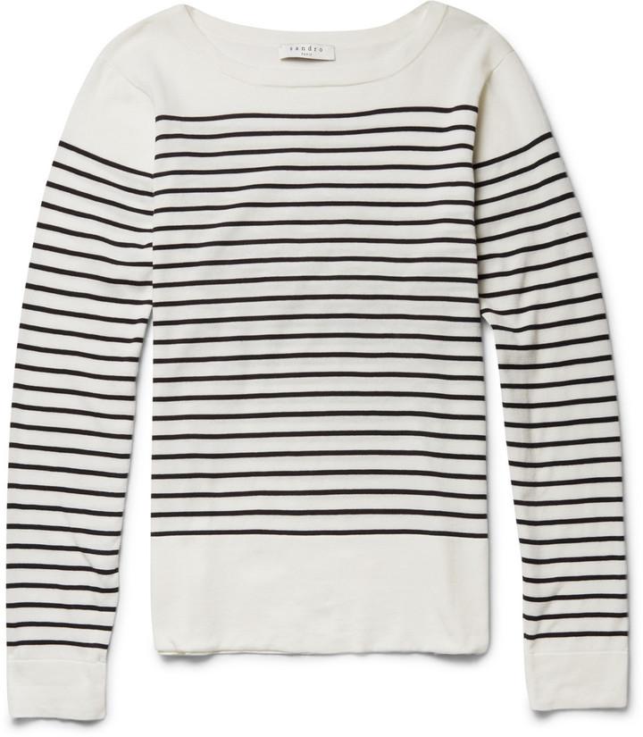 ... Rundhalsausschnitt weißer und schwarzer horizontal gestreifter Pullover  mit einem Rundhalsausschnitt von Sandro bfe83c089f