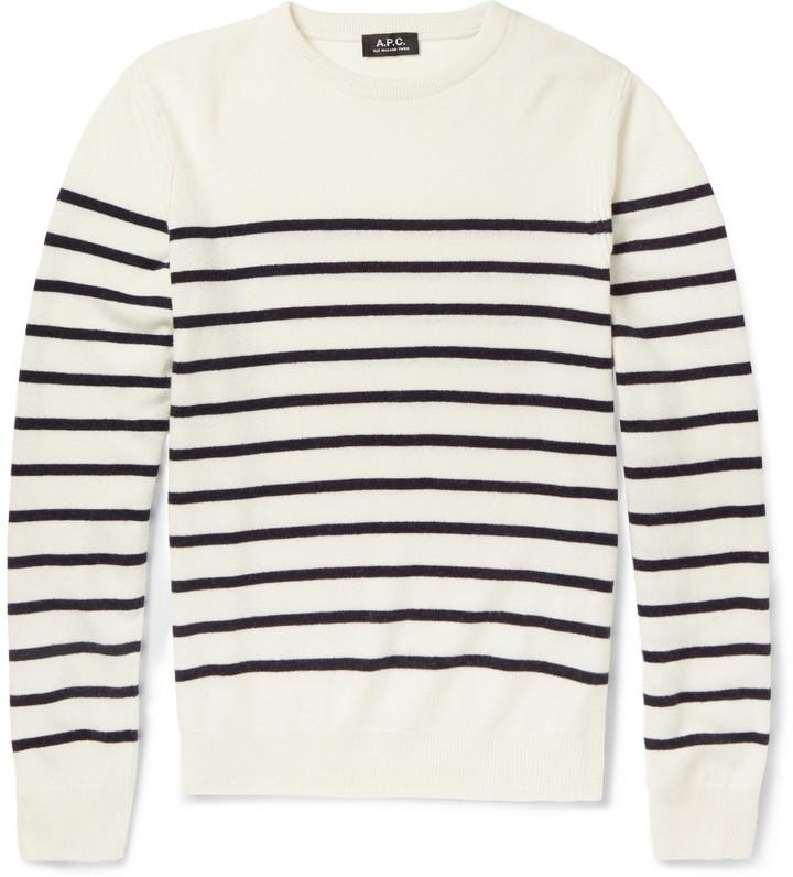 ... Rundhalsausschnitt weißer und schwarzer horizontal gestreifter Pullover  mit einem Rundhalsausschnitt von A.P.C. 937442c0e7
