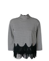 weißer und schwarzer horizontal gestreifter Rollkragenpullover von Marc Jacobs