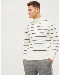 weißer und schwarzer horizontal gestreifter Rollkragenpullover von New Look
