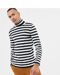 weißer und schwarzer horizontal gestreifter Rollkragenpullover von Selected Homme