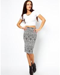 weißer und schwarzer Midirock mit geometrischem Muster von Vero Moda