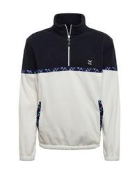 weißer und schwarzer Pullover mit einem Reißverschluss am Kragen von Iriedaily