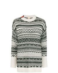 weißer und schwarzer Pullover mit einem Rundhalsausschnitt mit Norwegermuster von Nude