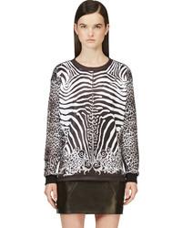 weißer und schwarzer Pullover mit einem Rundhalsausschnitt mit Leopardenmuster von Balmain