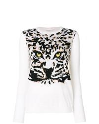 weißer und schwarzer Pullover mit einem Rundhalsausschnitt mit Leopardenmuster von Sonia Rykiel