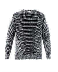 weißer und schwarzer Strick Oversize Pullover