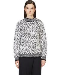 weißer und schwarzer Strick Oversize Pullover von Balmain