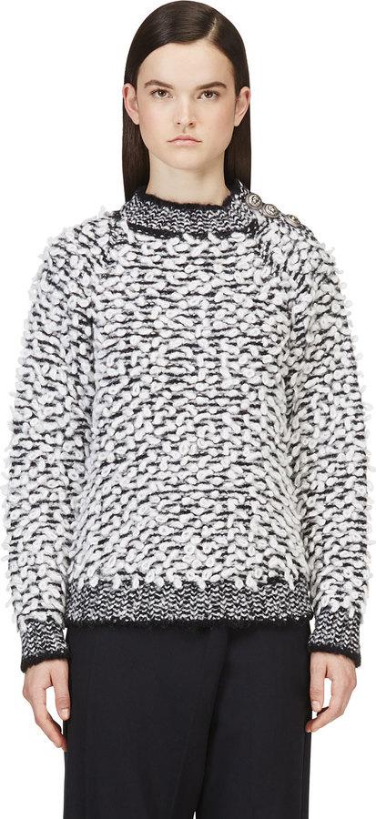 weißer und schwarzer Strick Oversize Pullover von Balmain   Wo zu ... 5adb77cb37
