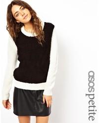weißer und schwarzer Strickpullover von Asos Petite