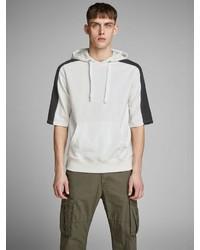 weißer und schwarzer vertikal gestreifter Kurzarmpullover mit einem Kapuze von Jack & Jones