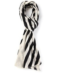 weißer und schwarzer vertikal gestreifter Schal von Joseph