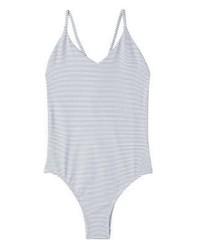 weißer vertikal gestreifter Badeanzug von Mango