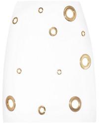 weißer verzierter Minirock von Versace