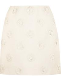 weißer Wollminirock mit Blumenmuster von Valentino