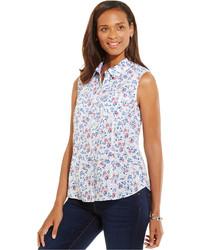 weißes ärmelloses Hemd mit Blumenmuster