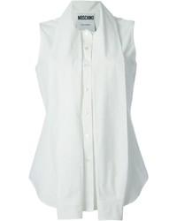 weißes ärmelloses Hemd von Moschino