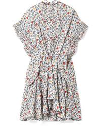 weißes ausgestelltes Kleid mit Blumenmuster von Chloé
