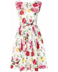 weißes ausgestelltes Kleid mit Blumenmuster von Dolce & Gabbana