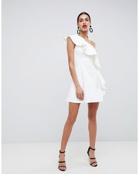weißes ausgestelltes Kleid mit Rüschen von ASOS DESIGN
