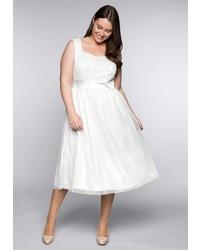 weißes ausgestelltes Kleid von SHEEGO STYLE