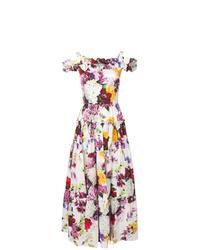 weißes Ballkleid mit Blumenmuster von Dolce & Gabbana