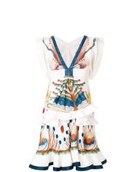 weißes bedrucktes ausgestelltes Kleid von Chloé