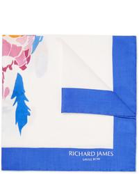 weißes bedrucktes Einstecktuch von Richard James